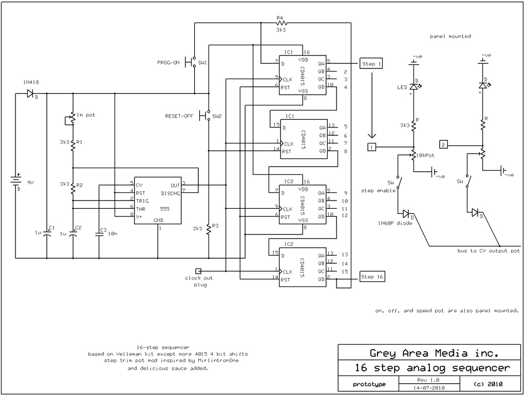 16 step sequencer schematic   repository