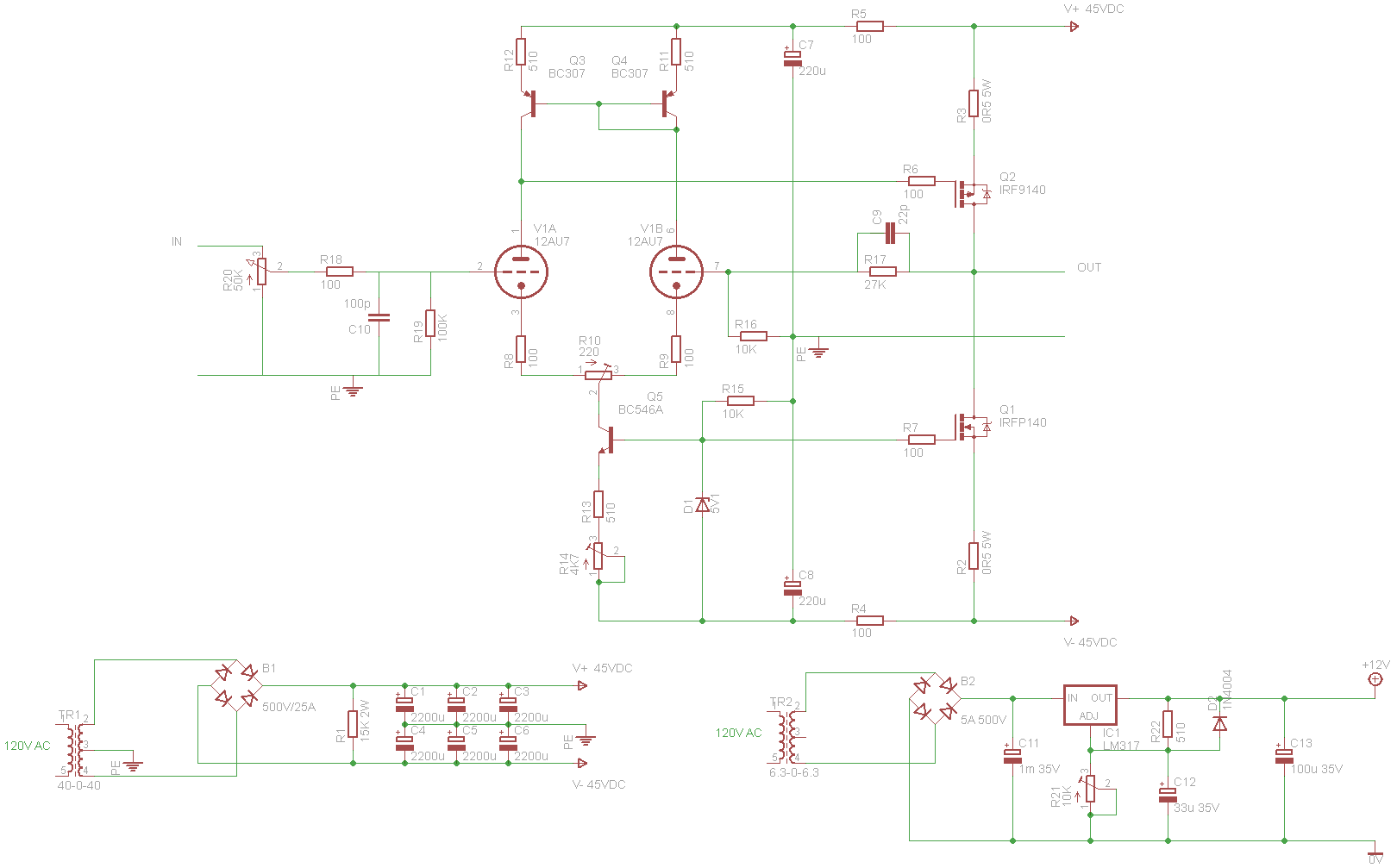 Popular Circuits Page 126 Sc1088 Radio Circuit Diagram Power Supply With Borbely Style 12au7 Mosfet Hybrid
