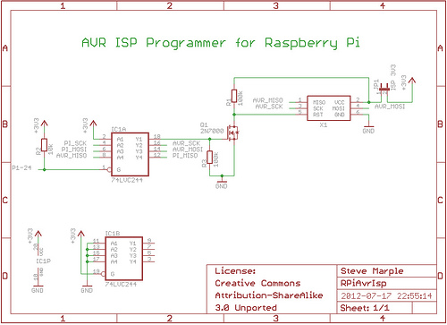 AVR/Arduino ISP programmer using the Raspberry Pi GPIOs - schematic