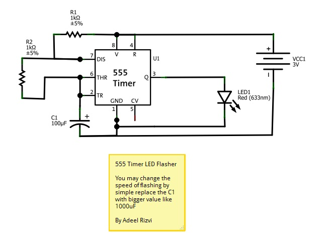 555 Timer Led Flasher - schematic