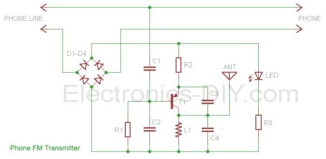 telephone fm transmitter - schematic