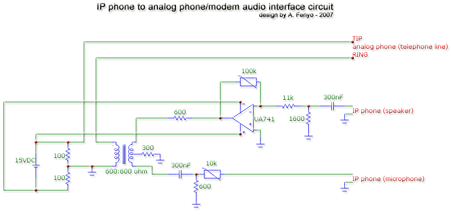 IP phone to analog phone or modem audio interface circuit - schematic