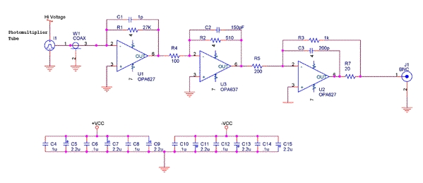 PMT Preamp Diagram - schematic