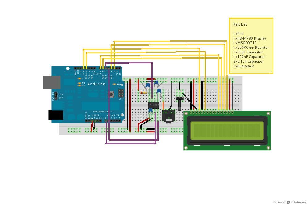 MSGEQ7 Audio Equalizer - schematic