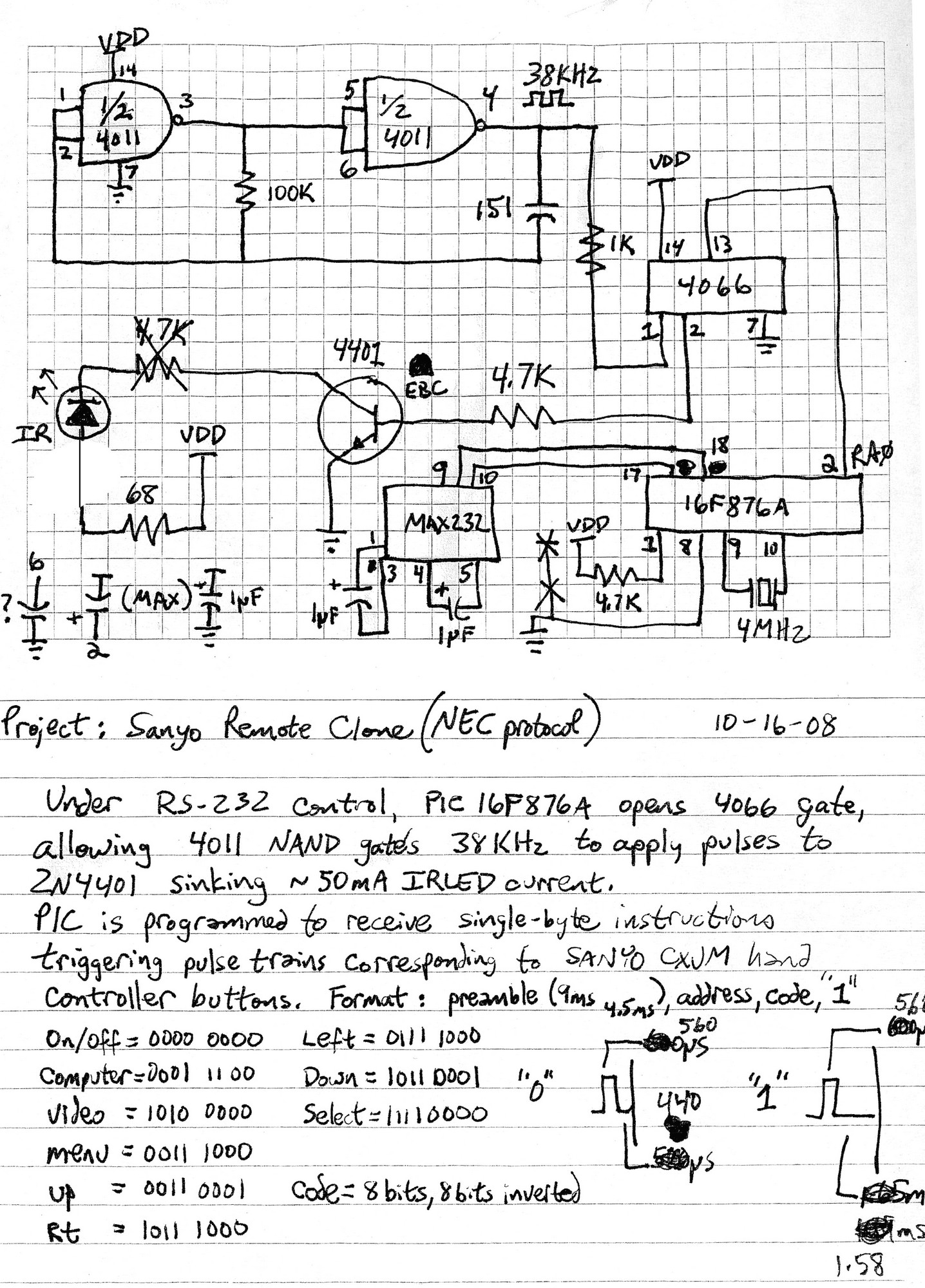 Hampton Bay Air Conditioner IR Remote Control Reverse Engineer - schematic