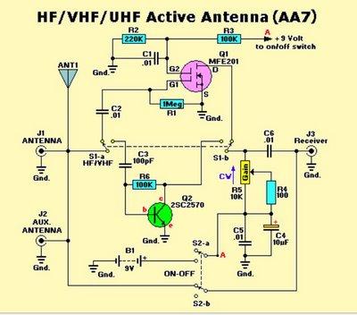 Active Antenna HF/VHF/UHF 3-3000MHz - schematic