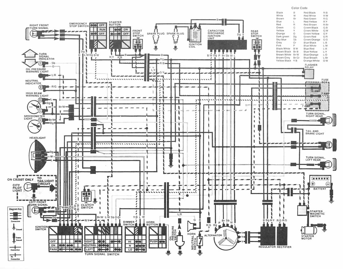Wiring Diagram For Honda Motorcycle : Gt circuits honda motorcycle cb hawk ii wiring diagram