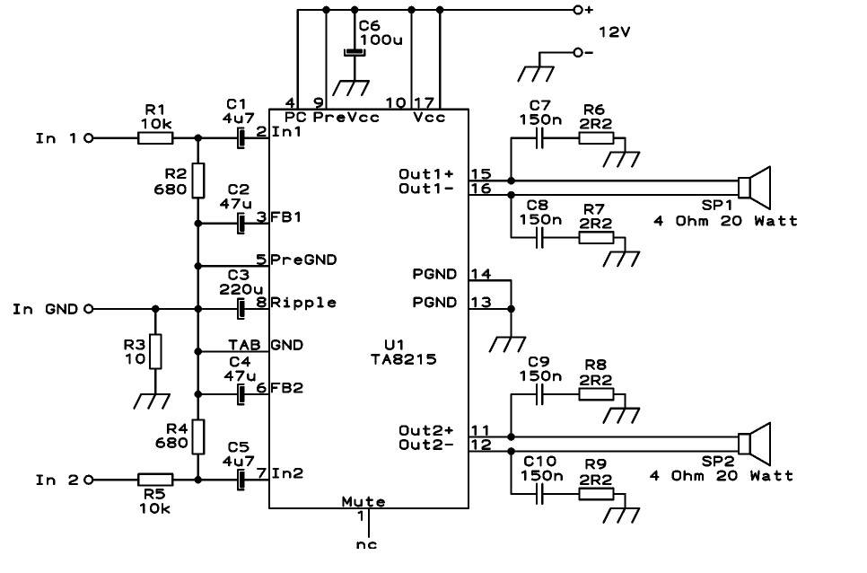 Audio IC TA8215 based on 15W Car Audio Amplifier