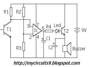 LASER BURGLAR ALARM CIRCUIT - schematic