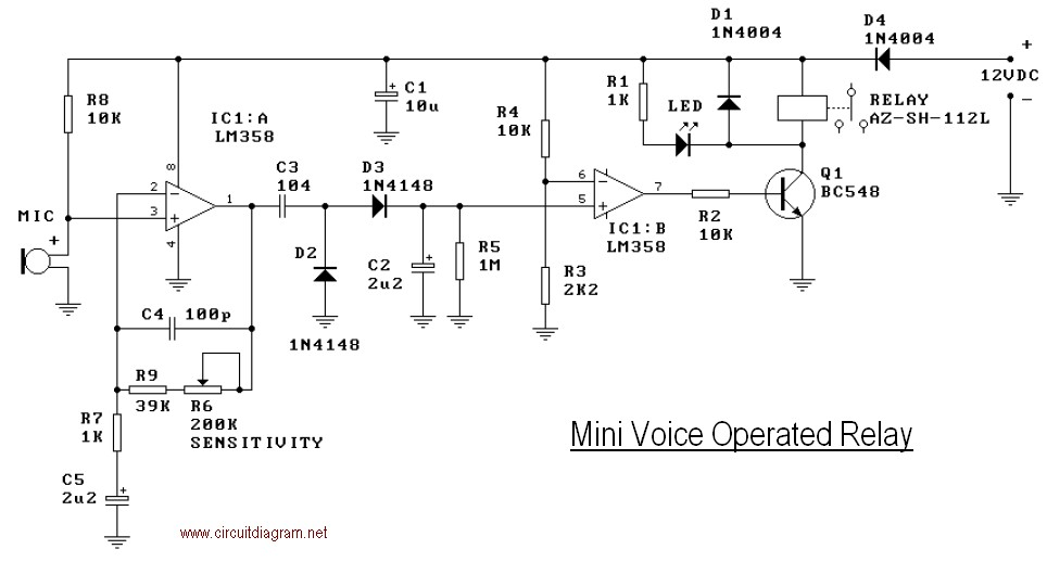 Mini Operated Voice Relay Schematic - schematic