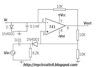 OP AMP BASED MONOSTABLE MULTIVIBRATOR 741 - schematic