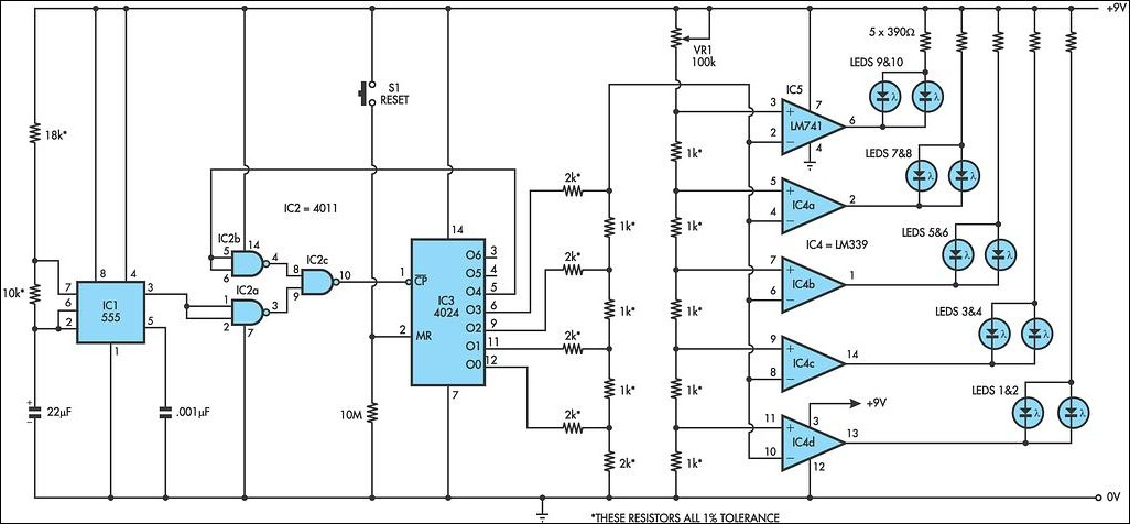 LED Circuit with Timer 555 - schematic