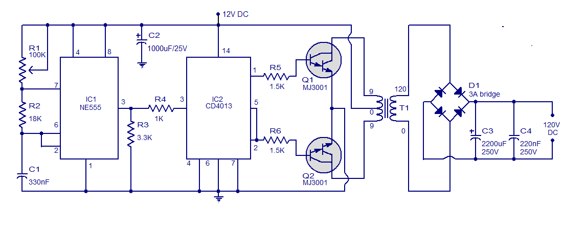 Simple Circuit 12V to 120V DC DC Converter - schematic