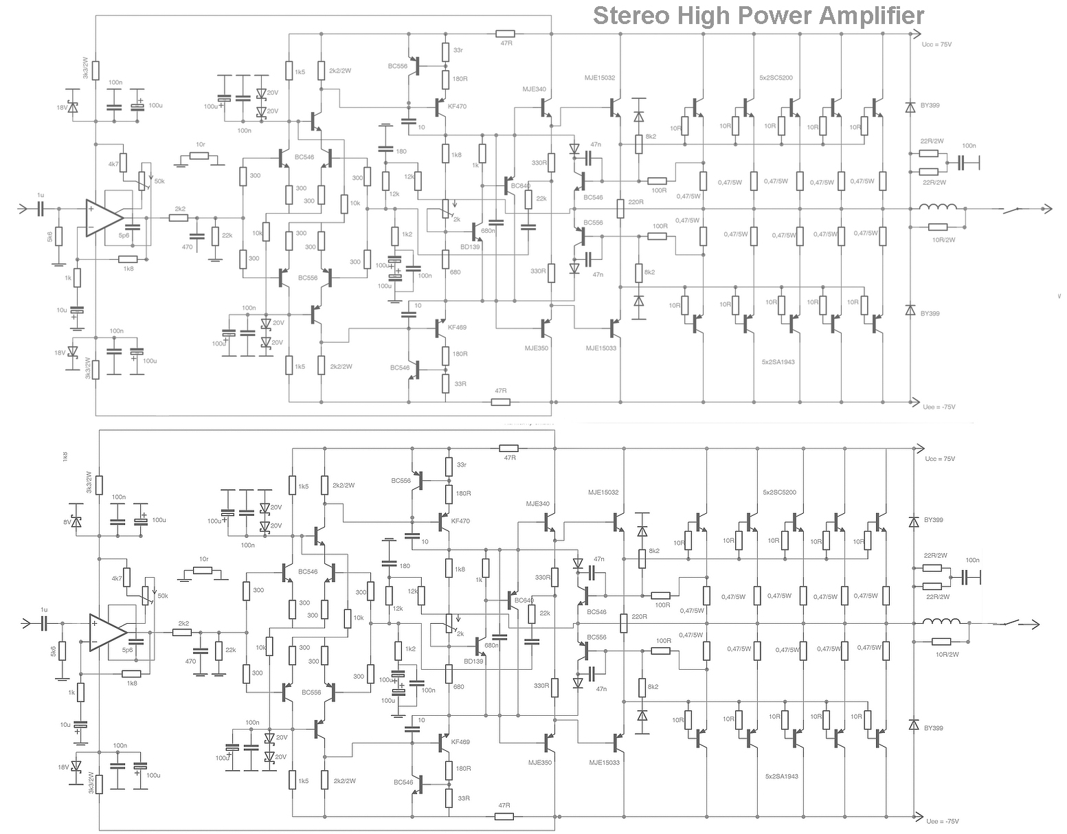 Circuit Diagram 3000w Audio Amplifier Free Wiring For You 10w Solar Panel Gt Circuits Stereo High Power Html L21320 5000w 100w