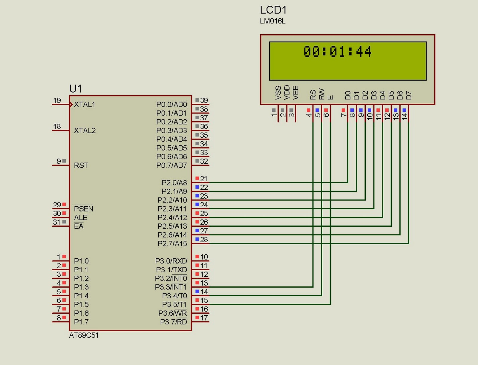 8051 8052 Circuit Page 3 Microcontroller Circuits Mini Project Diagram Lcd Clock Using 89s51