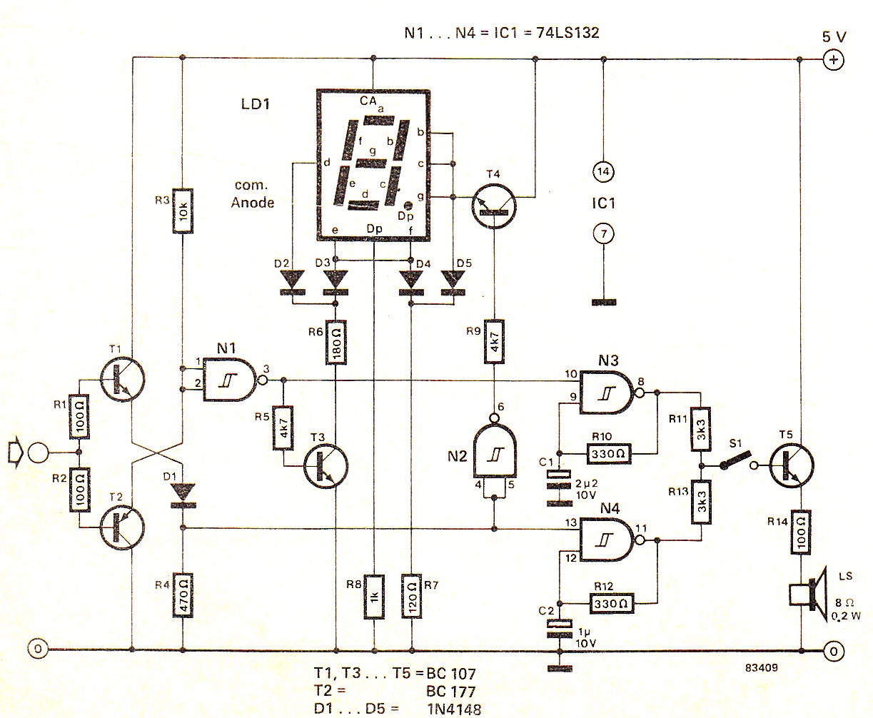 Digital High/Low Logic Tester Circuit diagram