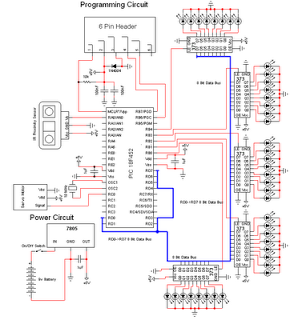 contruction of personal Radar System using PIC MIcrocontroller PIC18f452 - schematic
