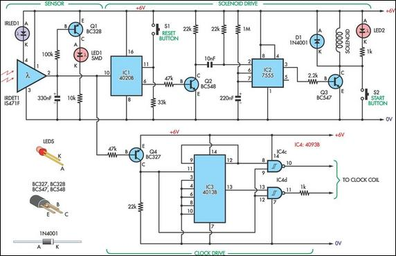 pendulumcontrolled clock circuit diagram box wiring diagramclock circuit page 5 meter counter circuits next gr experimental pendulum clock