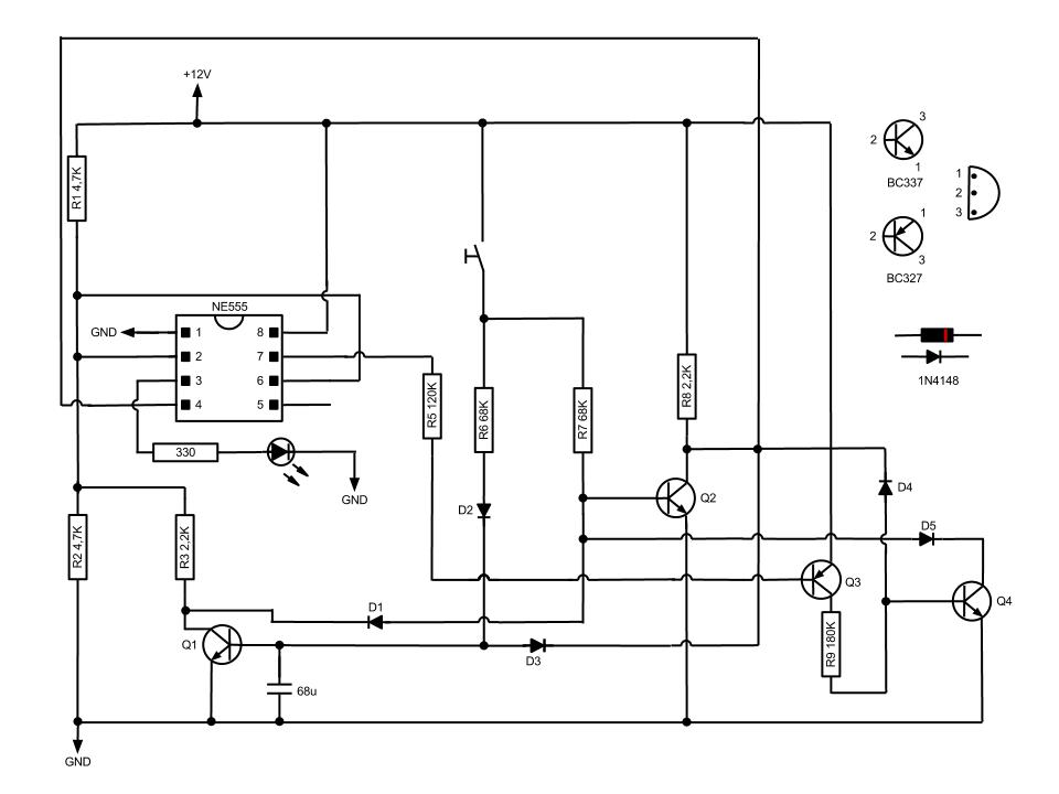 Simple Momentary Switch with 555 - schematic