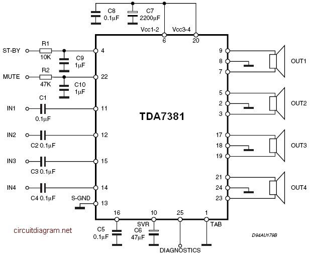 Tda7831 4x25w Quad Audio Amplifier
