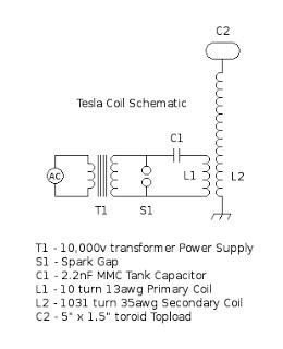 tesla coil circuit - schematic