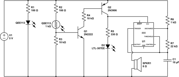 transistors IR Emitter/Detector with 555 timer alarm - schematic