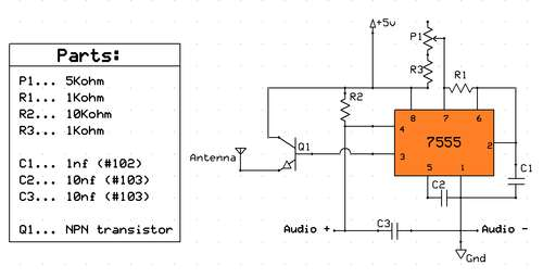 What determines the transmit frequency in this 555-based transmitter - schematic