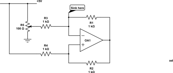 a voltage-controlled current sink / voltage-controlled resistor - schematic