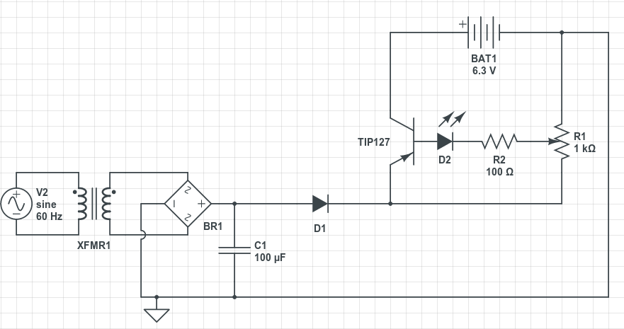 resistors About a homemade SLA battery charger - schematic