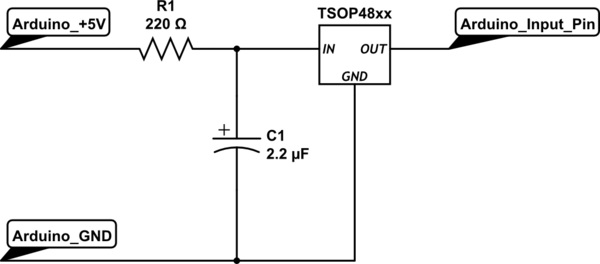 How should I wire up the circuit to connect a TSOP4838 (Radio Shack 276-64) infrared receiver to an Arduino - schematic