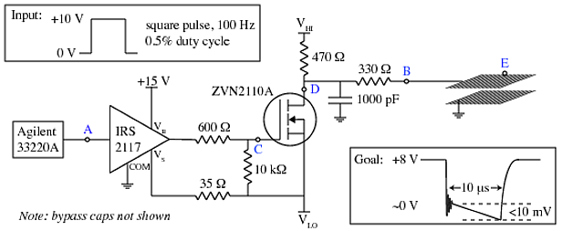 voltage MOSFET Switch w/ Fast Settle Time for Switching E-Field - schematic