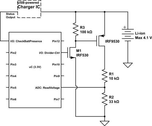 microcontroller How can I measure battery voltage with my MCU - schematic