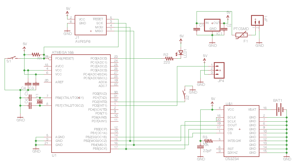 pcb Driving 10x10 LED matrix with AVR - schematic