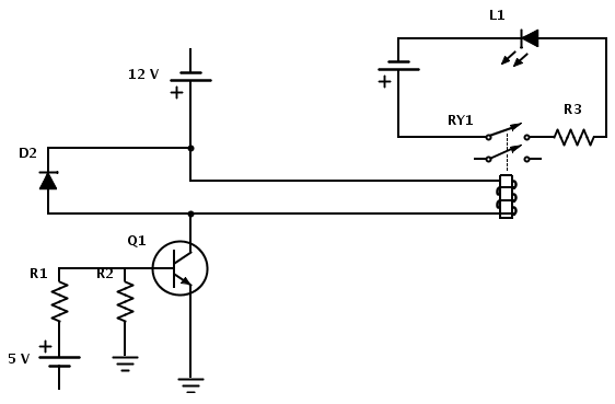 relay In a circuit being switched by an NPN transistor do power supply and input need the same ground - schematic