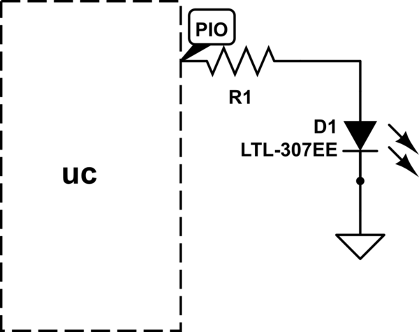 atmel driving LEDs directly from microcontroller pins - schematic