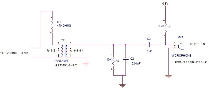 voltage What kind of Mic do I need to connect to a pots telephone line to speak - schematic