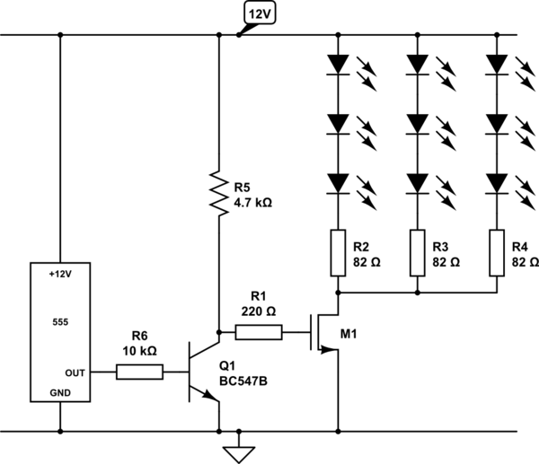 Driving 72 leds with 555 timer - schematic