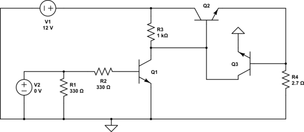 voltage transistor loop to limit the current - schematic