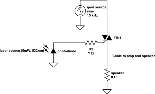Using a triac to switch audio signal for laser maze - schematic