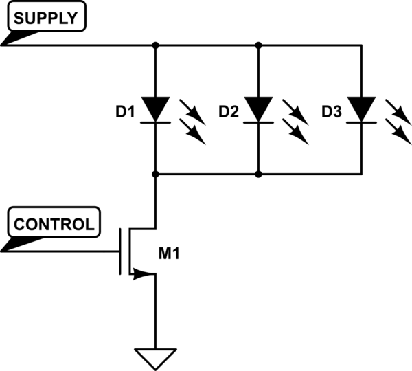 led strip Using a N-Mosfet to switch a common cathode ledstrip - schematic