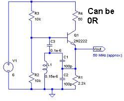 rfid How to design an Oscillator Circuit (500 MHz range) with no Op amps - schematic