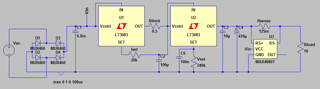 LT3083 current limiting - schematic