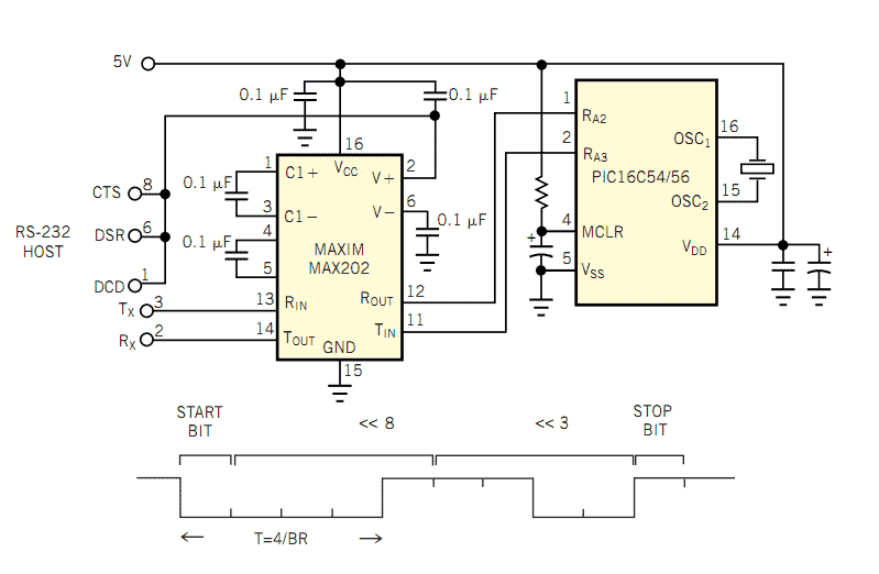 autodetects baud rate circuit MAX202 and PIC16C54 - schematic