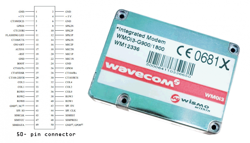 GSM modem circuit with Wavecom WMOi3 - schematic