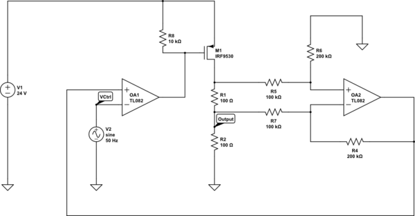 op amp Why does this current limiter circuit oscillate - schematic