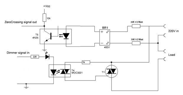 arduino + optotriac based ac dimmer blinking severely - schematic