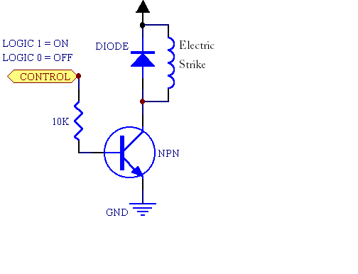 Electric strike with Arduino circuitry - schematic