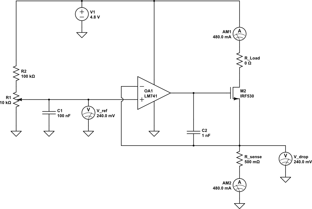 Charging capacitor bank with current limiting circuit - schematic