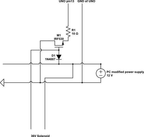 Arduino solenoid project behaves strangely when operated on PC power supply - schematic