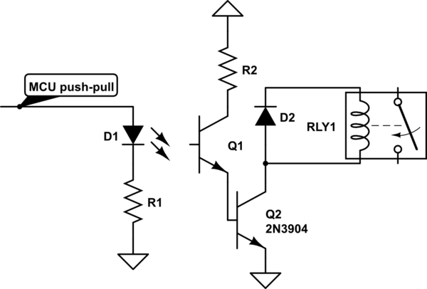 microcontroller driving a relay with transistor and opto